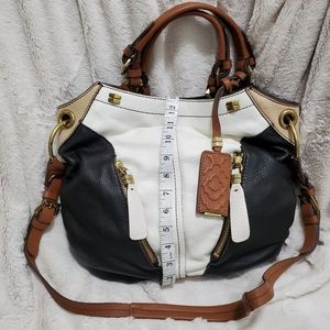 orYANY BLACK WHITE & BROWN HOBO BAG